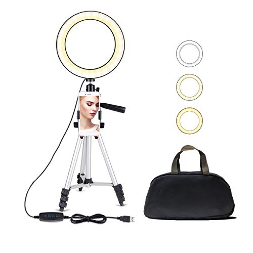 7.9' Selfie Ring Light with Adjustable Tripod Stand, JaxTec 3 Modes 11 Brightness Levels with LED Ring Light with Phone Holder for Vlogs, Live Stream, Phone,YouTube,Self-Portrait Shooting
