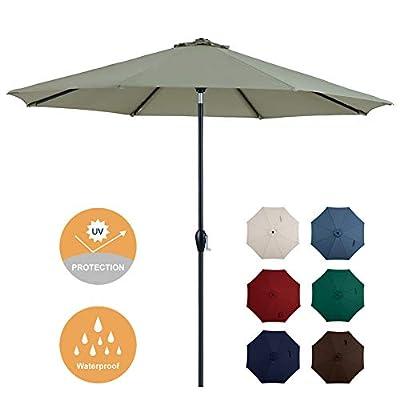 Tempera 10ft Patio Umbrella Outdoor Garden Table Umbrella with Crank and Auto-Tilt Function, 8 Steel Ribs in 200G Lettuce Olefin