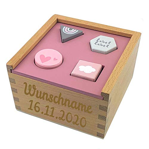 Elefantasie Formenspiel Sortierbox aus Holz mit Namen und Geburtsdatum graviert rosa
