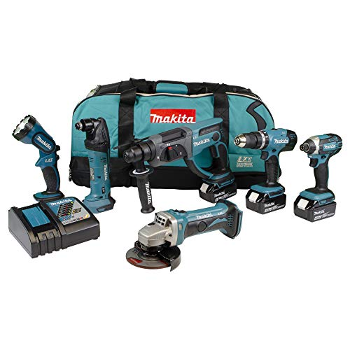 Makita DLX6075M 18V Li-ion LXT 6 Piece Combo Kit comprising DHP453Z, DHR202Z, DTD152Z, DTM50Z, DGA452Z, DML185 Complete with 3 x 4.0 Ah Batteries and Charger Supplied in a Heavy Duty LXT Tool Bag