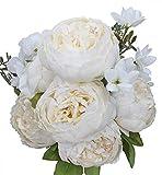 Ksnnrsng Fausses Fleurs Ancien Pivoine Artificielle Fleurs en Soie Bouquet Mariage Accueil Décoration (Blanc Lait)