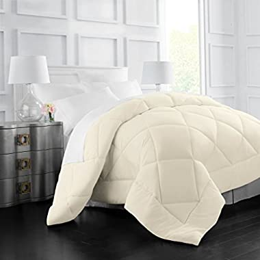 Egyptian Luxury Goose Down Alternative Comforter - All Season - 2100 Series Hotel Collection - Luxury Hypoallergenic Comforter - Full/Queen - Ivory