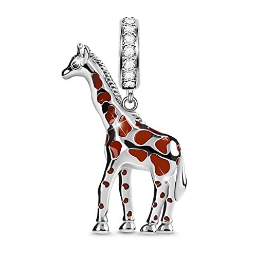 GNOCE Colgante de jirafa de plata de ley 925 independiente y noble dabgle para pulsera/collar de Navidad regalo para esposa e hija