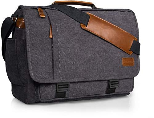 Estarer Umhängetasche 15,6 Zoll Laptoptasche aus Canvas für Schule/Reisen/Business