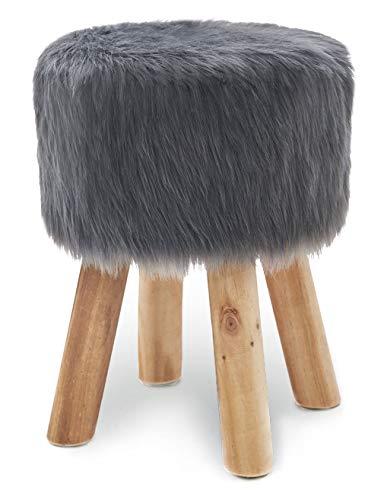 Suhu Fell Hocker Pouf Hocker Sitzhocker Sofa Puff Hocker Kleiner Fußbank Rund aus Massivholz Grau