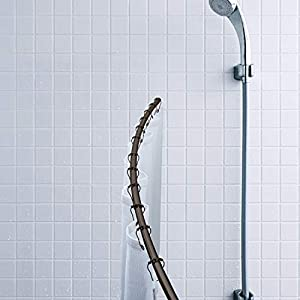 Bath Bliss Expandable 42 to 72-inch Curved Shower Curtain Rod, Bronze