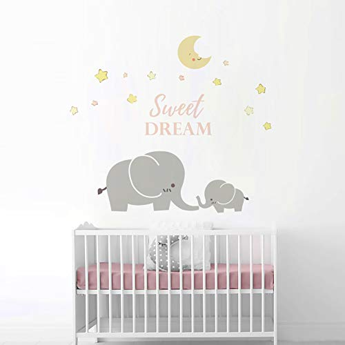 onetoze Wandtattoo Elefant Wandtattoo Sterne Aufkleber Mond Deko Wandaufkleber Kinderzimmer Wandtattoo Babyzimmer Junge Mädchen, 114x130cm