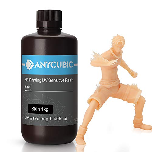 ANYCUBIC 3D Printer Resin, 405nm SLA UV-Curing Resin Featured with High Precision and Quick Curing & Excellent Fluidity for LCD 3D Printing, 1KG/Skin