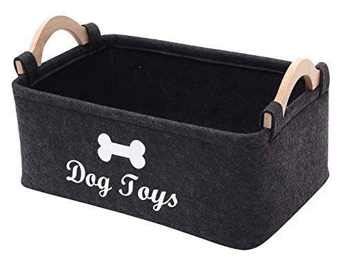Felt pet Toy Box and Dog Toy Box Storage Basket Chest Organizer - Perfect for organizing pet Toys, Blankets, leashes and Food - Dog Toy - Dark Grey