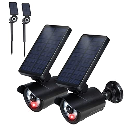 Motion Sensor Solar Lights Outdoor 2-in-1 Landscape Spotlights Wall Lights Dummy Camera with Flashing Red LED for Yard Garden Driveway Pool Patio 2 Pack