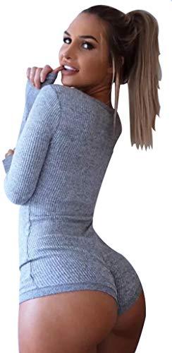 Body Mujer. Body Gris canalé con Botones, Verano-otoño(Gris canalé) - S