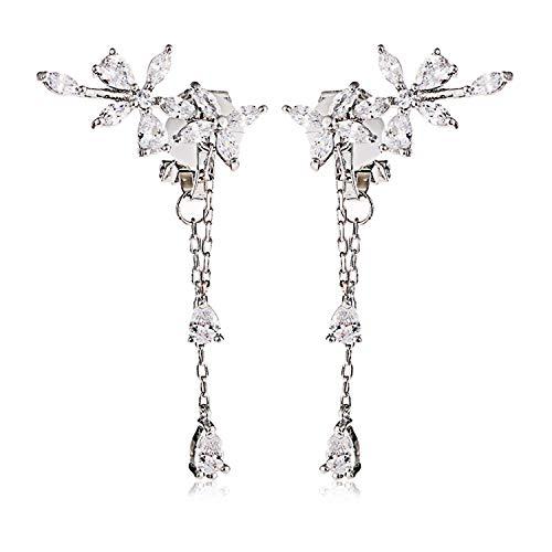 Clip on Earrings non Pierced Fringe Dangle Tassel Drop Cubic Zirconia Flower Women Girls Rose Gold