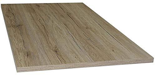 Tischplatte aus Holz für Schreibtische - Holzplatte perfekt geeignet für Schreibtisch, Couchtisch/Esstisch - Verschiedene Größen & Farben (80x80cm, San Remo Eiche)