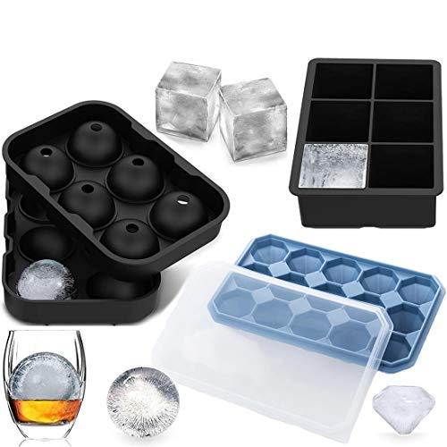 JiaHome Stampi per cubetti di Ghiaccio, in Silicone, con Coperchio,per congelatore, Whisky, Cocktail e Altre Bevande, Cubetti di Ghiaccio(3 Pezzi)