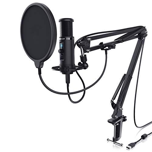 CSL - Kondensatormikrofon USB mit Mikrofonarm - Studiomikrofon Set - Mikrofon mit Mikrofonarm, Spinne und Nierencharakteristik - Drehregler - Monitoring Echtzeitkontrolle – Podcast PC Streaming