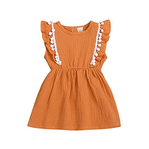 Julhold Baby Girls Leisure Lovely ropa de verano cómoda para niños, vestido de tutú de princesa de fiesta de pompón macizo 2019