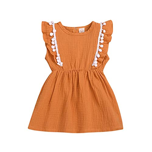 Pwtchenty Dresses for Girls Mädchen Kleider Sommer Baumwolle Kinder Kleid Volltonfarbe Hanf Ball Princess Dress Sommerkleider Kinderbekleidung