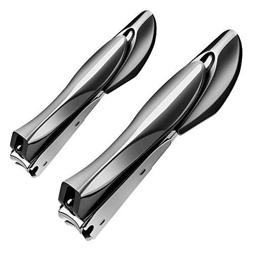 Nagelknipser mit Fänger, Terresa 2-teiliges Set Anti-Splash-Fingernagelknipser mit Feilen- und Zehennagelknipsern, scharfe Nagelknipser im bionischen Design für Männer, Frauen (Schwarz)
