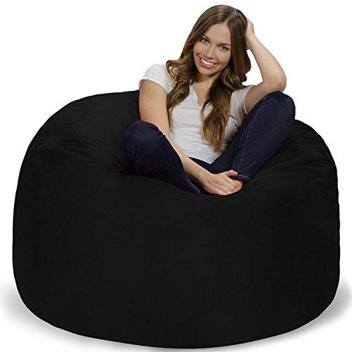 Chill Sack Bean Bag Chair: Giant 4' Memory Foam Furniture Bean Bag - Big Sofa with Soft Micro Fiber Cover - Black