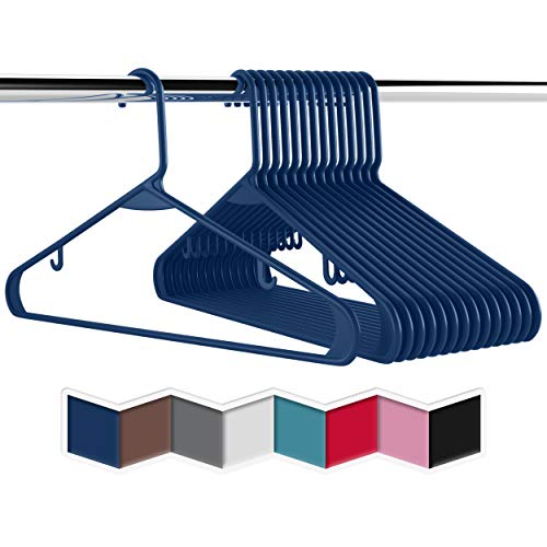 Plastic Clothes Hangers 20 40 60 Packs Heavy Duty Durable Coat and Clothes Hangers  Vibrant Colors Adult Hangers  Lightweight Space Saving Laundry Hangers 60 Pack - Navy