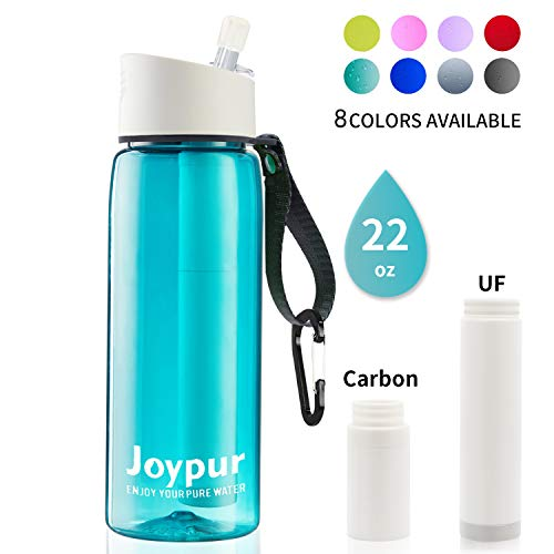 joypur Water Filter Bottle, BPA Free Water Purifier with 4-Stage Intergrated Filter Straw for Camping, Hiking, Travel Abroad, Emergency, Backpacking, Survival with Replaceable Filter, Teal (1pack)