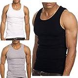 3-Pack Men's A-Shirt Tank Top (Large, Black, Grey, White)
