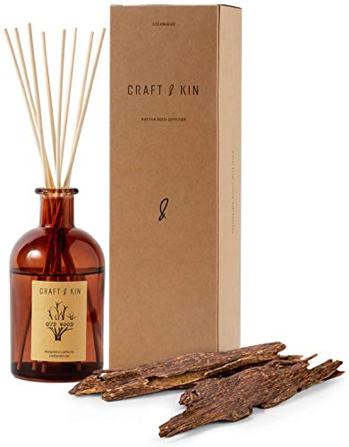 Reed Diffuser Sticks 'Oud Wood Scent' Set, includes 8 Rattan Scented Sticks Diffuser Reeds, All-Natural Essential Oil & Elegant Amber Glass Vase (5.75oz) | Provides Constant Fragrance