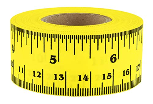ChromaLabel Ruler Tape, Repeating 12 Inch Imperial & Metric Measurements Imprint, Yellow