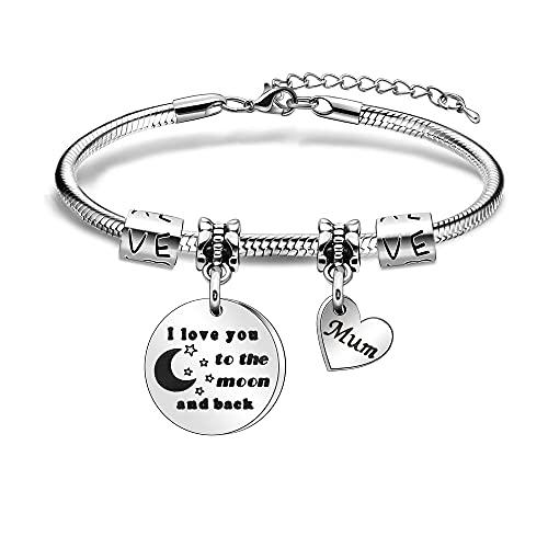 Pulsera de regalo para mamá, regalo de hija, con texto en inglés 'I Love You To The Moon And Back', pulsera de plata para mamá, mamá, mamá, día de la madre, regalo de cumpleaños