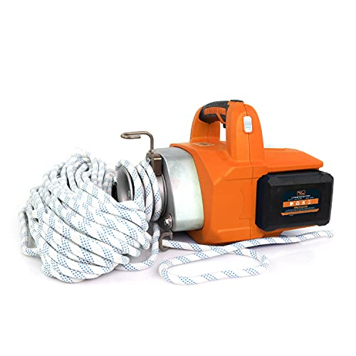SuperHandy Electric Portable Winch Capstan Hoist Brushless Motor Li-Ion Battery Powered 1000-2000 Max Pulling Force for Forestry Hunting Garden Off-Road (Low Stretch Rope Included)