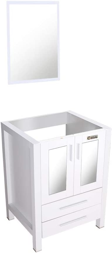 Amazon Com 24 White Bathroom Vanity Without Top 2 Drawers Wood Mdf Bathroom Vanity Only With Mirror 24lx20wx32h Home Improvement