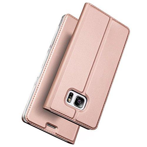 Verco Handyhülle für Galaxy S7 Edge, Premium Handy Flip Cover für Samsung Galaxy S7 Edge Hülle [integr. Magnet] Book Case PU Leder Tasche, Rosegold