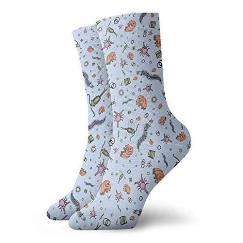 Mikroskopische Tiere in Blau Socken Classic Freizeit Sport kurze Socken 30 cm geeignet für Männer und Frauen