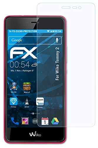 atFolix Schutzfolie kompatibel mit Wiko Tommy 2 Folie, ultraklare FX Bildschirmschutzfolie (3X)