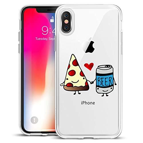 APRIL Funda Carcasa TPU Transparente para iPhone 6 diseño piza y Cerveza Enamorados