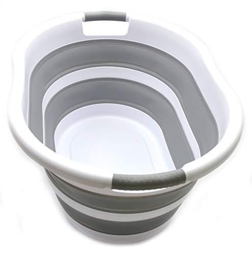 SAMMART Faltbarer Wäschekorb aus Kunststoff - Ovale Wanne / Korb - Faltbarer Vorratsbehälter / Organizer - Tragbare Waschwanne - Platzsparender Wäschekorb (Oval, Grau)