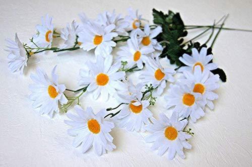 5 St. Margeriten Kamillien Zweige Kunstblumen Weiß Strauß Deko Blumen Dekor G012