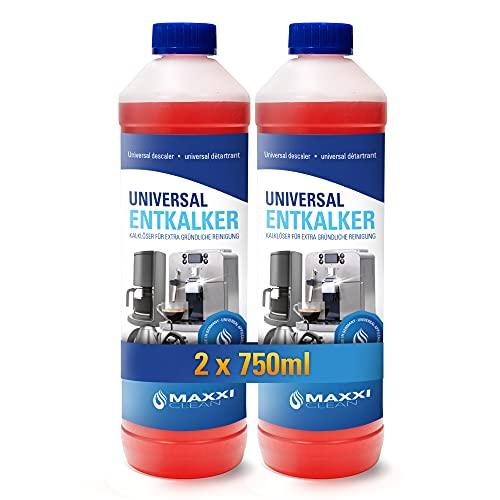 Maxxi Clean, Anticalcare e detergente multiuso per la pulizia di macchine da caffè, ferri da stiro e bollitori,250ml 2x 750 ml mit Farbindikator