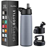 Triple Insulated Stainless Steel Water Bottle with Straw Lid - Flip Top Lid - Wide Mouth Cap (26 oz)...