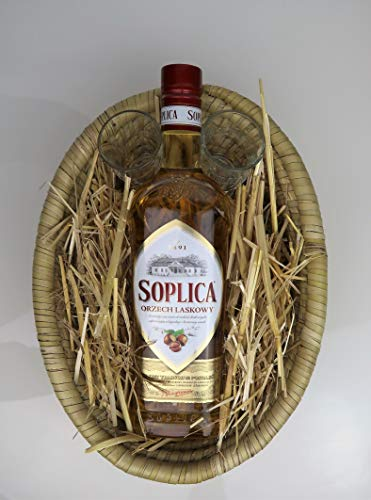 Geschenkkörbchen Soplica Haselnuss mit 2 Soplica Shot Gläsern | Fairtrade Handarbeit-Korb, inklusive Dekoheu
