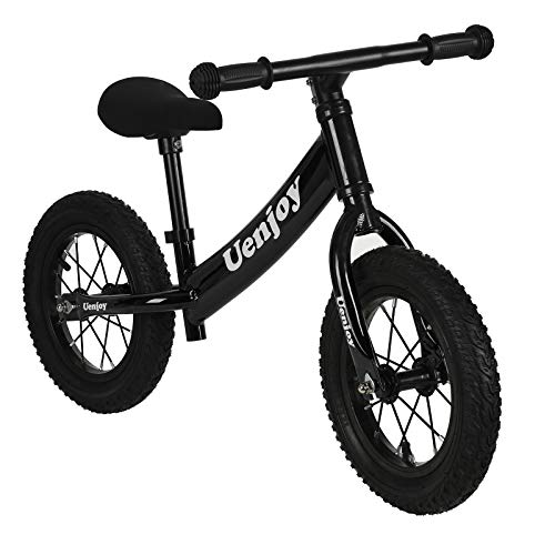 Uenjoy Kids Balance Bike No Pedal Bicycle for 2-4 Years Old, Starter Toddler Training Bike with Air-Filled Rubber Tire, Comfortable Seat, Lightweight Frame, Black