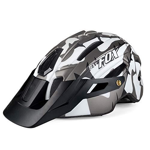 OMGPFR Casco De Bicicleta MTB para Adultos, Casco De Seguridad para Montar Al Aire Libre con Luz De Advertencia Casco De Bicicleta De Montaña Integrado EPS 14 Vents
