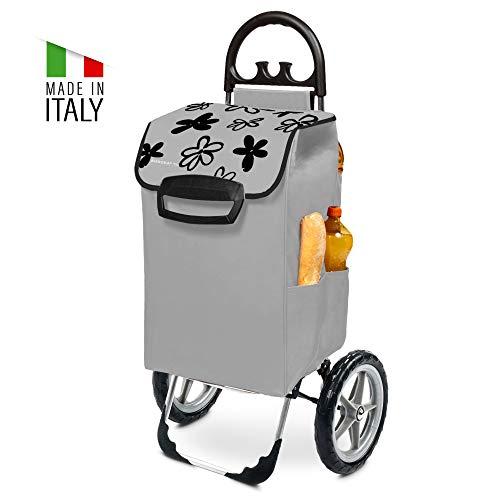 Kiley Einkaufstrolley XXL in grau mit Blumenmuster & großen Rädern - Einkaufswagen klappbar bis 50kg belastbar 78 Liter Volumen