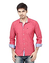 LA Seven Red Color Solid Full Sleeves Slimfit Casual Shirts