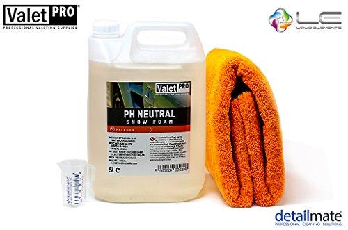 detailmate Kit de nettoyage de voiture pH neutre Snow Foam + Liquid Elements Orange Baby Chiffon microfibre Verre doseur 50 ml 5 l