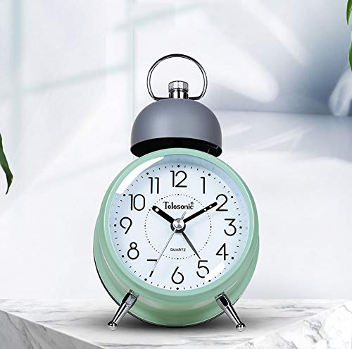 "XNZ Twin Bell Alarm Clock with Backlight, 4"" Stereoscopic Dial, Battery Operated Loud Alarm Clock, No Ticking, Noiseless, Retro Bell Alarm Clock, Quartz Drive"