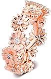 VVHN Pulseras de los Hombres 2019 Primavera Rosa Brillante Margarita Flor Corona Anillo para Mujer Plata 925 DIY se Adapta a Pulseras Pandora Originales Encanto joyería de Moda (56#)