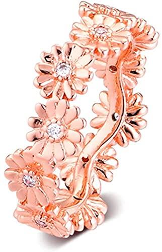LGUC Pulseras de los Hombres 2019 Primavera Rosa Brillante Margarita Flor Corona Anillo para Mujer Plata 925 DIY se Adapta a Pulseras Pandora Originales Encanto joyería de Moda (56#)