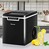 ARLIME Countertop Ice Maker, 26LBS/24H Portable Electric Ice Machine, 9 Bullet Ice Cubes Ready in 7 Mins, Intelligent Alarm System, with Ice Scoop and Basket (Black)