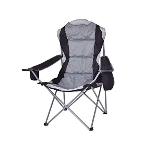 WJXBoos Silla plegable para acampar al aire libre, de lujo, portátil, ligero soporte lumbar con reposabrazos para camping, bolsa de transporte incluida